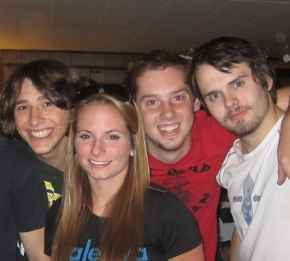 From Left to right: Preston, Emily, Mark and Derrick (my son, who looks like a psycho killer LOL)